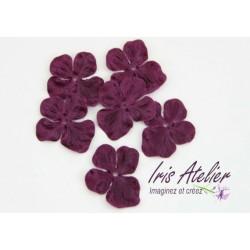 3 fleurs hortensia en satin de soie prune pour bijoux mariage, scrapbooking, carterie, couture