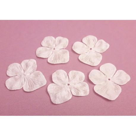 1 Fleur hortensia en pongé de soie ivoire pour bijoux mariage, scrapbooking, carterie, couture