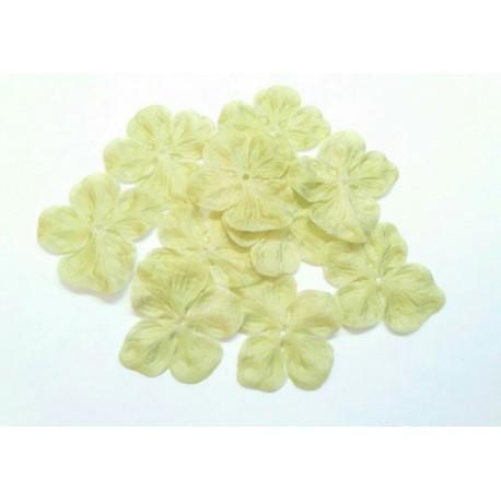 3 fleurs hortensia en pongé de soie vert amande pour bijoux mariage, scrapbooking, carterie, couture