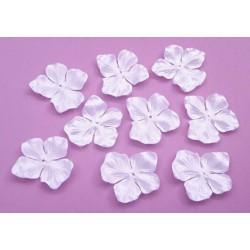 3 fleurs hortensia en satin de soie blanche pour bijoux mariage, scrapbooking, carterie, couture