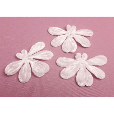 1 Fleur orchidée en velours blanc pour bijoux mariage, scrapbooking, carterie, couture