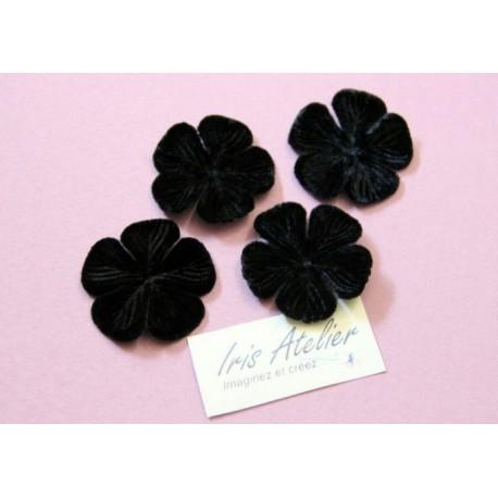 1 Fleur en velours noire pour scrapbooking, carterie, couture, décoration