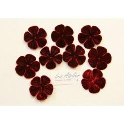 1 Fleur en velours bordeaux pour scrapbooking, carterie, couture, décoration