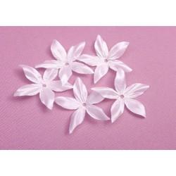 3 fleurs edelweiss en satin de soie blanche pour bijoux mariage, scrapbooking, carterie, couture