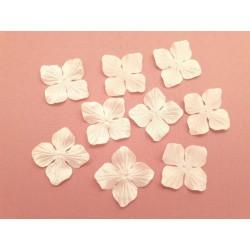 3 fleurs en satin de soie ivoire pour bijoux mariage, scrapbooking, carterie, couture