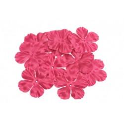 3 fleurs en satin de soie rouge bordeaux pour bijoux mariage, scrapbooking, carterie, couture