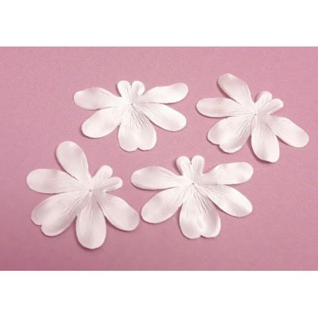 3 fleurs orchidée en satin de soie ivoire pour bijoux mariage, scrapbooking, carterie, couture