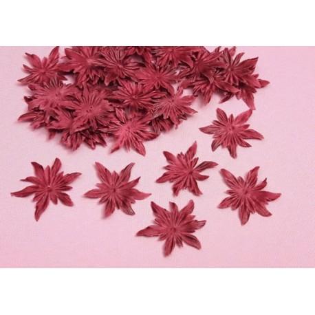 3 fleurs edelweiss en satin de soie bordeaux pour bijoux mariage, scrapbooking, carterie, couture