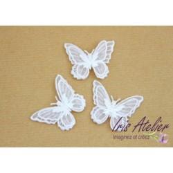 1 Applique papillon en organza brodé ailes doubles blanc, bijoux mariage, déco, scrap, DIY...