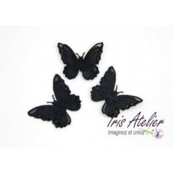 1 Applique papillon en organza brodé ailes doubles noir, bijoux mariage, déco, scrap, DIY...