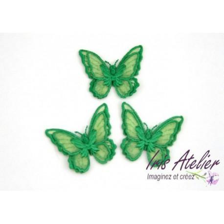 1 Applique papillon en organza brodé ailes doubles vert, bijoux mariage, déco, scrap, DIY...