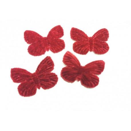1 Papillon en velours bordeaux pour scrapbooking, carterie, couture, décoration