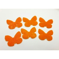 1 Papillon en velours orange pour scrapbooking, carterie, couture, décoration