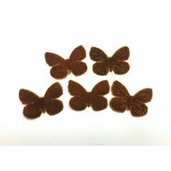 1 Papillon en velours marron pour scrapbooking, carterie, couture, décoration