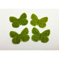 1 Papillon en velours vert pour scrapbooking, carterie, couture, décoration