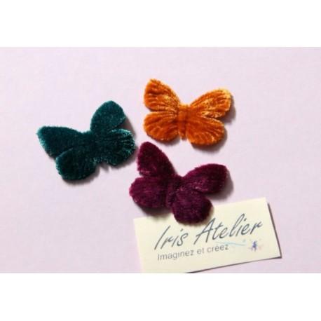 1 Papillon en velours vert émeraude pour scrapbooking, carterie, couture, décoration