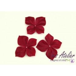 3 papillons en satin de soie bordeaux pour bijoux mariage, scrapbooking, carterie, couture