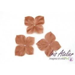 3 papillons en satin de soie cappuccino pour bijoux mariage, scrapbooking, carterie, couture