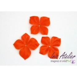 3 papillons en satin de soie orange pour bijoux mariage, scrapbooking, carterie, couture