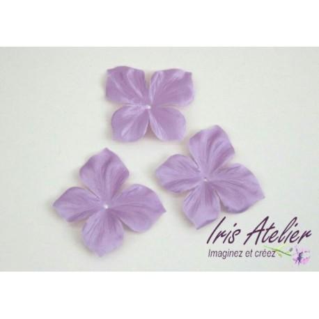 3 papillons en satin de soie violet parme pour bijoux mariage, scrapbooking, carterie, couture