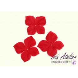 3 papillons en satin de soie rouge pour bijoux mariage, scrapbooking, carterie, couture