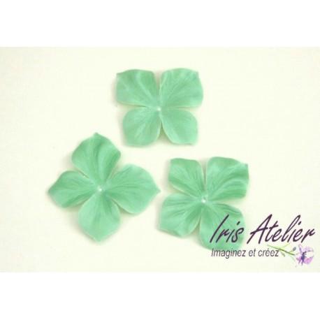 3 papillons en satin de soie vert amande pour bijoux mariage, scrapbooking, carterie, couture