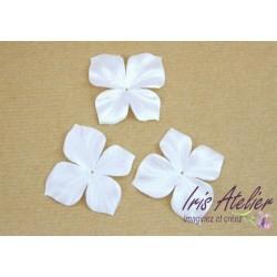3 papillons en satin de soie blanc pour bijoux mariage, scrapbooking, carterie, couture