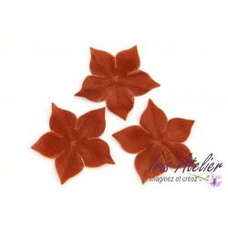 1 Fleur en satin de soie marron bronze pour bijoux mariage, scrapbooking, carterie, couture
