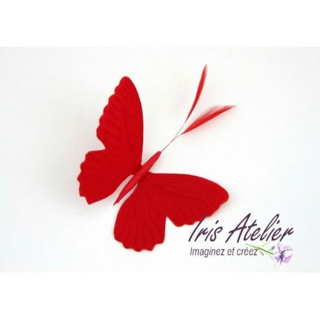 1 Grand papillon en satin de soie rouge et plumes, pour bijoux mariage, couture, décoration, scrapbooking