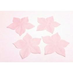 3 Fleurs en pongé de soie rose pour bijoux mariage, scrapbooking, carterie, couture