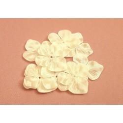3 Fleurs hortensia en satin de soie ivoire pour bijoux mariage, scrapbooking, carterie, couture