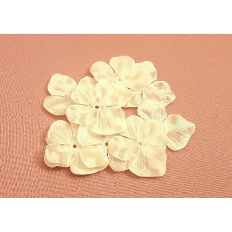 1 Fleur hortensia en satin de soie ivoire pour bijoux mariage, scrapbooking, carterie, couture