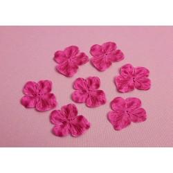 3 Fleurs hortensia en satin de soie rose fuchsia pour bijoux mariage, scrapbooking, carterie, couture