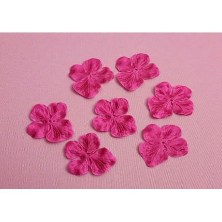 1 Fleur hortensia en satin de soie rose fuchsia pour bijoux mariage, scrapbooking, carterie, couture