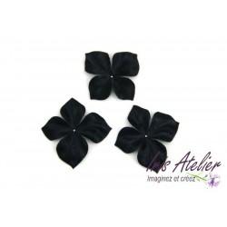 3 papillons en satin de soie noir pour bijoux mariage, scrapbooking, carterie, couture