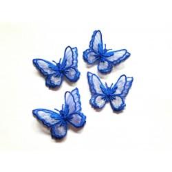 1 Applique papillon en organza brodé ailes doubles bleu nuit, bijoux mariage, déco, scrap, DIY...