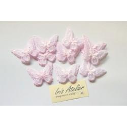 1 Applique papillon en organza brodé ailes doubles rose clair, bijoux mariage, déco, scrap, DIY...