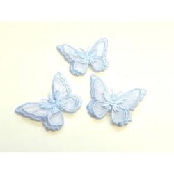 Lot de 3 Appliques papillon en organza brodé ailes doubles bleu ciel, bijoux mariage, déco, scrap, DIY...