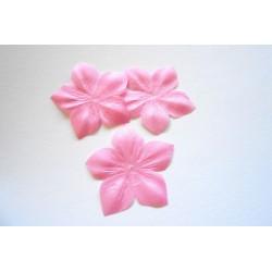 3 fleurs en pongé de soie rose bonbon pour bijoux mariage, scrapbooking, carterie, couture