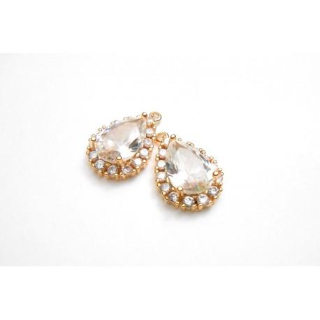 2 gouttes pendentif doré rosé en ziconium pour réalisation de bijoux, bijoux mariage