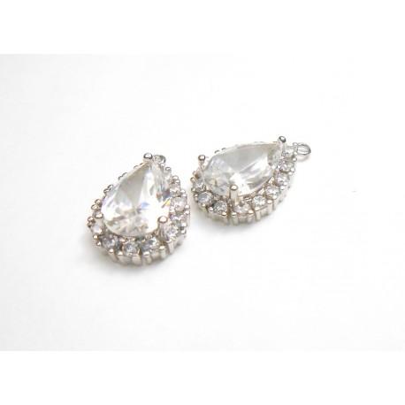 2 gouttes pendentif argenté en ziconium pour réalisation de bijoux, bijoux mariage