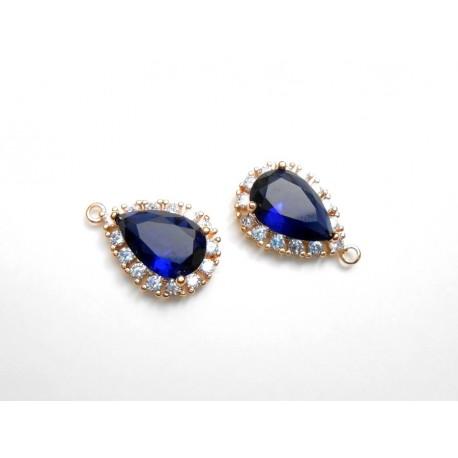2 gouttes pendentif doré rosé en ziconium bleu foncé pour réalisation de bijoux, bijoux mariage