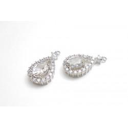 2 gouttes ajourées pendentif argenté en ziconium pour réalisation de bijoux, bijoux mariage
