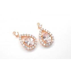 2 gouttes ajourées pendentif doré rosé en ziconium pour réalisation de bijoux, bijoux mariage
