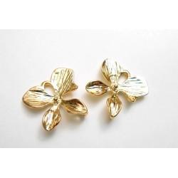 Lot de 2 connecteurs pendentifs orchidées dorées