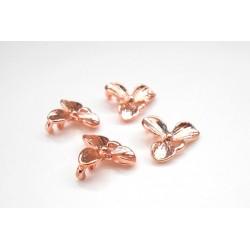 Lot de 4 connecteurs pendentifs orchidées rose gold