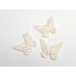 Lot de 3 Appliques papillon en organza brodé ailes doubles ivoire, bijoux mariage, déco, scrap, DIY...