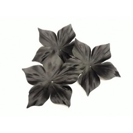 3 fleurs en satin de soie noire 8 cm pour bijoux mariage, scrapbooking, carterie, couture