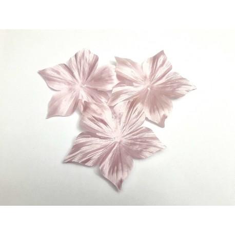 3 fleurs en satin de soie rose clair 8 cm pour bijoux mariage, scrapbooking, carterie, couture