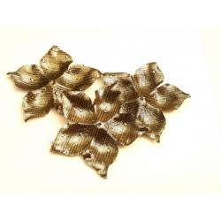 3 fleurs en satin de soie lamé or à pois 8 cm pour bijoux mariage, scrapbooking, carterie, couture